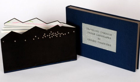 "Traveling Through Dream Landscapes ""Artist book with four original signed drawings. Oil crayon, ink and bookbinding tools on Rives. One-of-a-kind""--Colophon Bound in full black oasis, with black leather onlays and palladium and oeser tooling 1 v. (unpaged) : chiefly col. ill. ; 16 x 27 cm Jane Webster Pearce Collection, Bowdoin College"