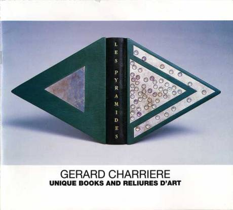 Les Pyramides, 1989. Unique. Mixed media paintings. Triangular binding. Spine in black leather. Cover in tuquoise leather with silver leaf. Signed. 8.5 x 7.5 x 7.5 inches