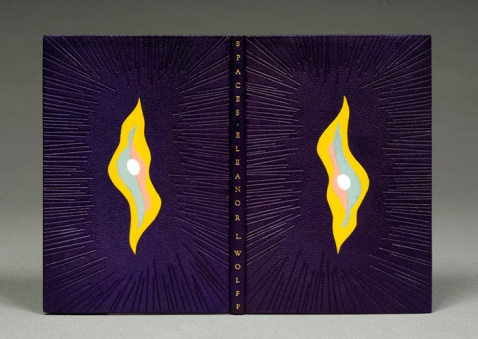 Eleanor Wolff, Spaces, 1973 Bound in full purple chagrin leather; sewn on recessed cords; green suede leather doublures and flyleaves; green handsewn silk endbands; top edge gilt; décor of blind tooling with multicolored leather onlays; title tooled in gold. 24 x 16 x 1.5 centimeters