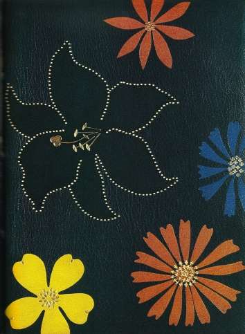 Upper board of Ourika bound in 1981 Lewis. Fine Bookbinding in the Twentieth Century, 1984