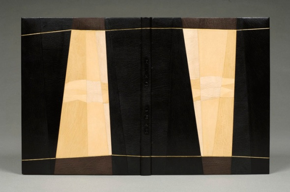 Romeo and Juliet 1973 French binding construction, covered in full goat skin leather; natural, white, yellow, black and brown onlays, leather sanded to get different tones of color. Doublure and flyleaves on goat skin, black and brown color. Décor of gold and blind tooling. Top edge gilt.  35 x 26 x 3 centimeters. Created 2005.