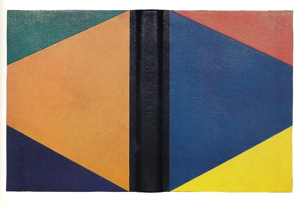 Bradford Morrow. A Bestiary. Grenfell Press, 1990. Edition binding. Full leather split board case binding. Black spine with inlays and onlays of scarlet, yellow, blue, purple, green, and orange leather. Pink leather head and tailbands. Sewn on 5 linen tapes. Somerset endpapers with sewn Japanese linen hinge. 39 x 28.5 x 6.5 cm. Bound in 1991. Fine Printers Finely Bound Too, no. 14A