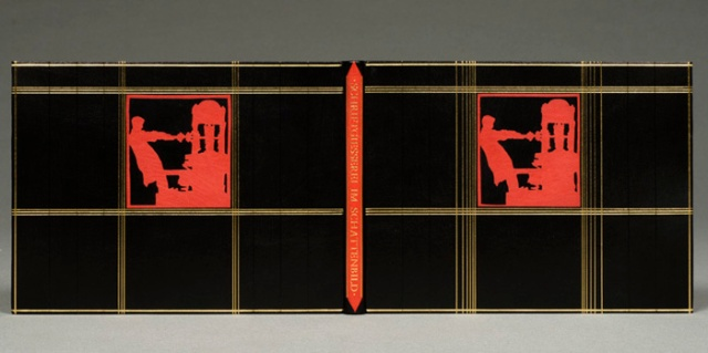 Rudolf Koch, Schriftgiesserei im Schattenbild, 1936 Bound in full black Morocco; edges rough cut; sewn on three frayed-out cords; paste paper endleaves with sewn leather inner hinge; handsewn red silk endband; décor of gold and blind tooling with red leather onlays; title in gold on spine. 19 x 25.5 x 1 centimeters. Created n.d. GBW 100th Anniversary