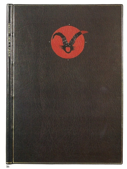 Imp and Fiends. Northampton, MA: Gehenna Press, 1976. Out-of-series copy signed by the artist. Full black morocco with red and black leather onlays, gold tooling; sewn on flattened hemp cords; top edges gilt, leather endbands. 304 x 215 mm Bound in 1982. Contemporary American Bookbinding no. 16