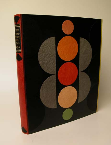 Barbara Hodgson and Claudia Cohen. The Temperamental Rose &   Other Ways of Seeing Colour. Heavenly Monkey Editions, 2006. Three-piece case, with leather spine and fore edges. The boards are covered in an early 20th century European embossed paper, over which a number of different circular leather overlays are placed. 7 x 9 inches.